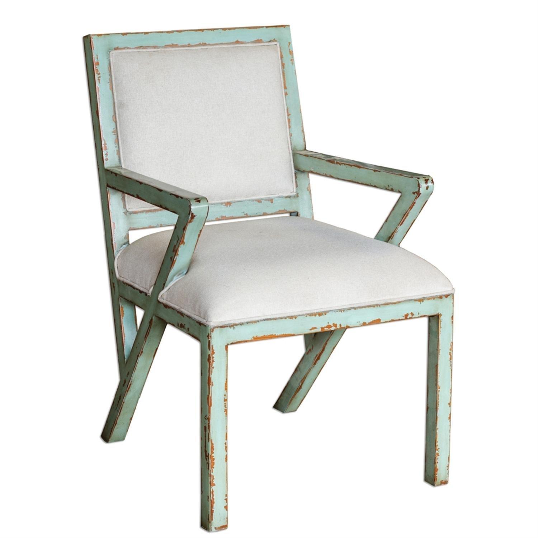 "26"" Zenia Solid Mango Wood Scandinavian Distressed Seaglass Green & Antique White Cushions Armchair"