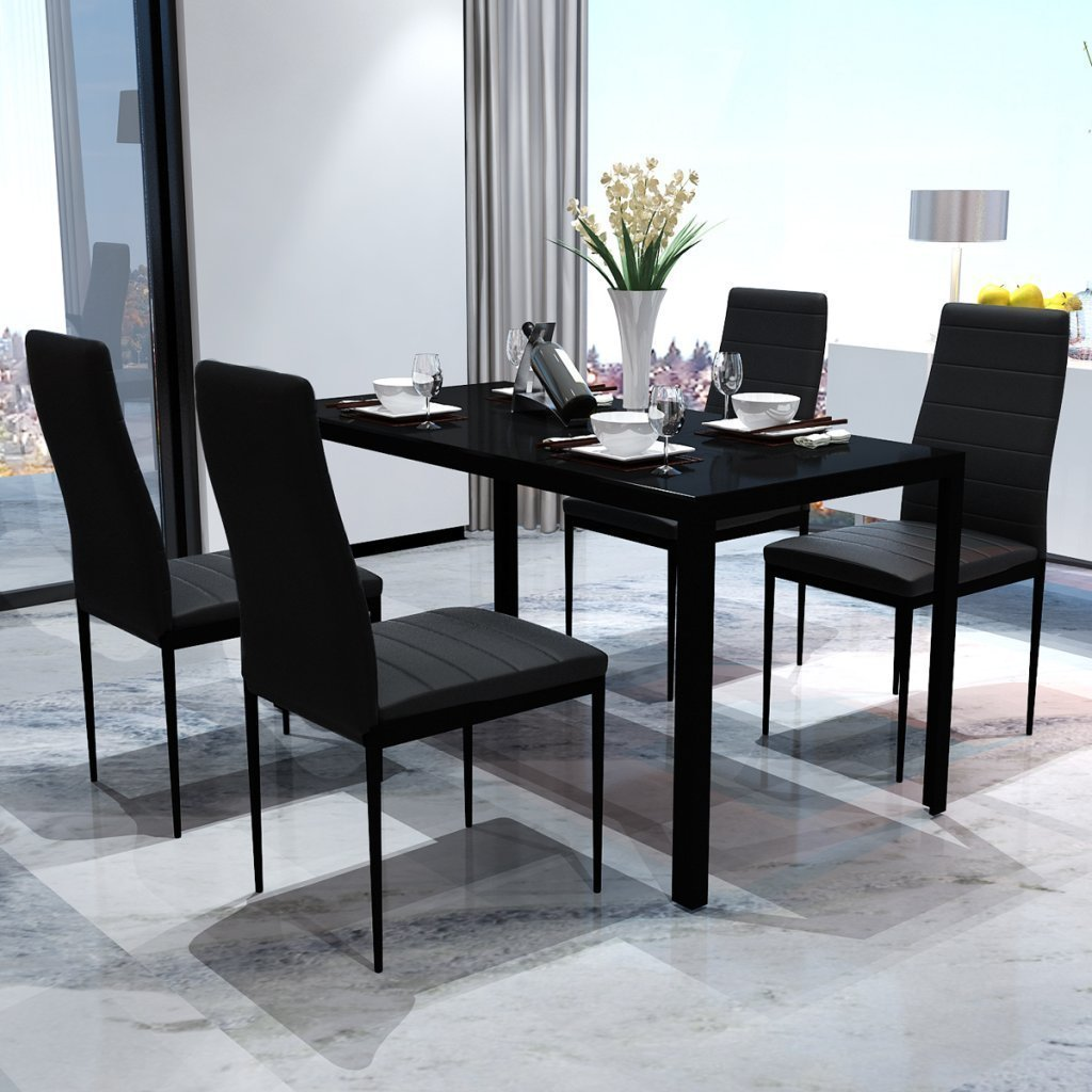 Bonnlo Modern 5 Pieces Dining Table Set Glass Top Dining Table and Chair Set for 4 Person