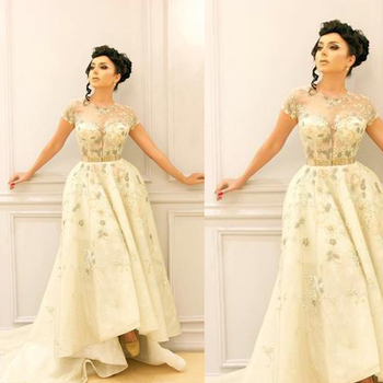 light yellow prom dresses sheer crew neckline cap sleeve lace appliques  beading sequins high front and 6f6c60c64932