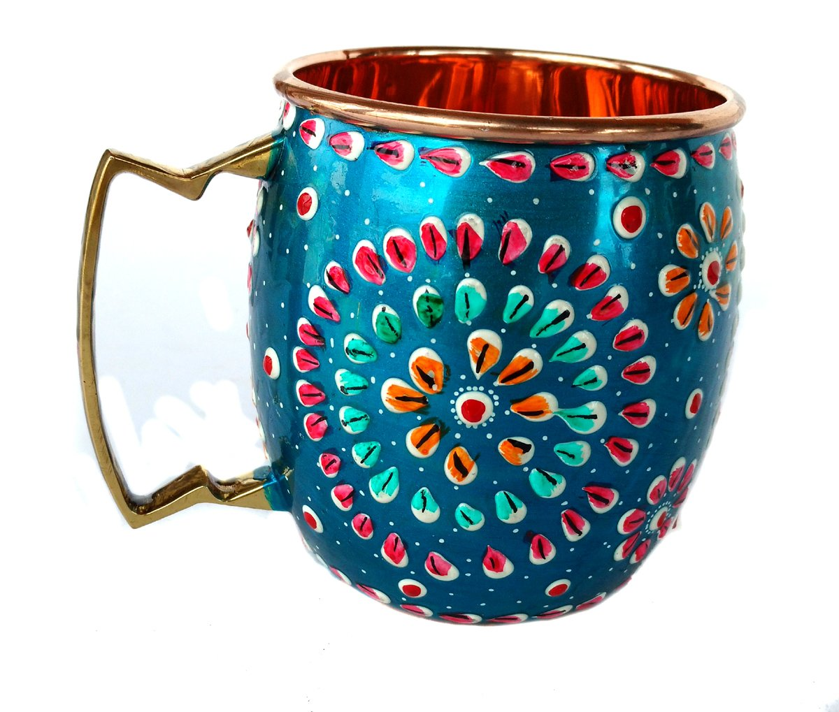 Rastogi Handicrafts Handmade Pure Copper Outer Hand Painted Art Work Wine, Vodka, Beer,Cocktail,Juice, Cold Coffee Mug - Cup 16 oz (1)