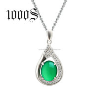 Sterling Silver Jade Pendant 925 Gemstone Jewelry Wholesale New Blue Chrysoprase Designs