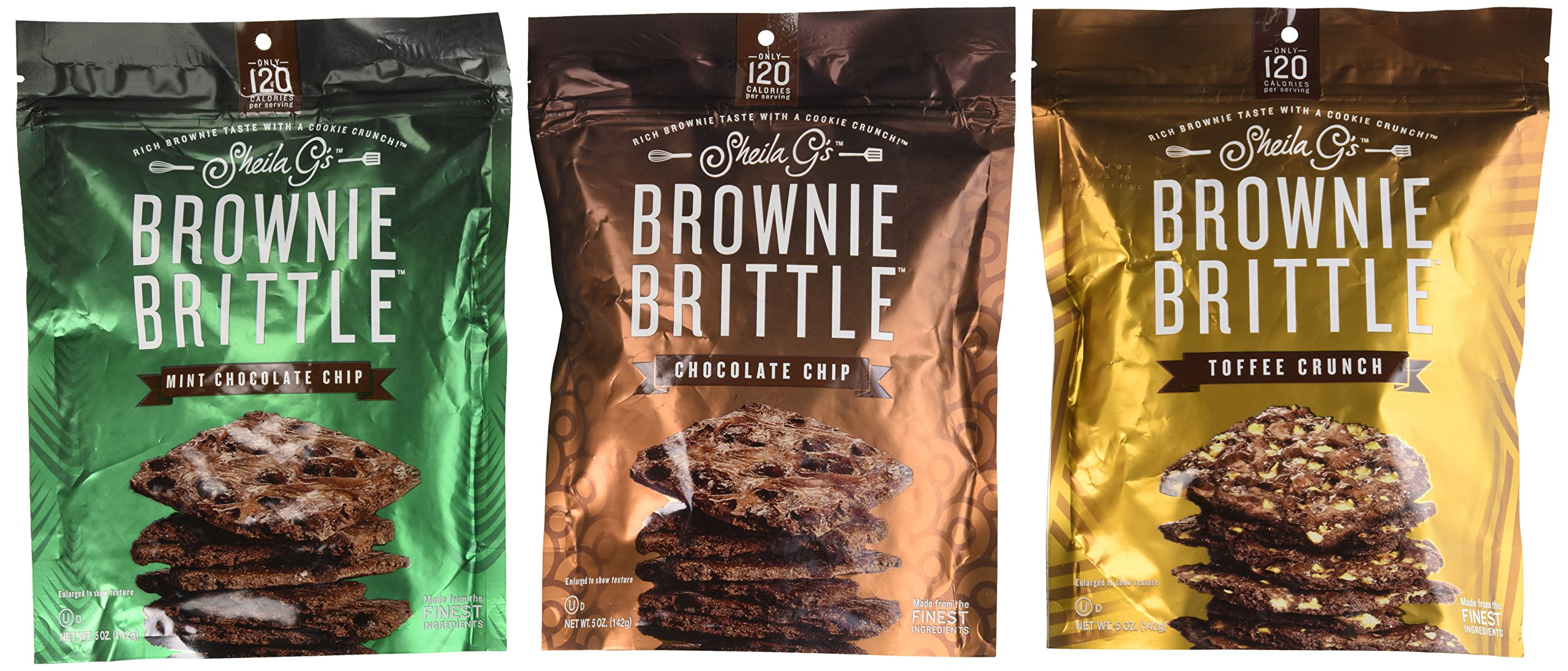 Sheila G's Brownie Brittle 3 Flavor Variety Pack: (1) Sheila G's Chocolate Chip Brownie Brittle, (1) Sheila G's Mint Chocolate Chip Brownie Brittle, and (1) Sheila G's Toffee Crunch Brownie Brittle, 5 Oz. Ea. (3 Bags Total)