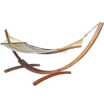 Customized Wooden Curved Arc Hammock Stand With Yellow And Grey ...