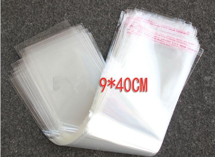 100pcs 9x40cm Opp Transparent Clear Self Adhesive Seal Plastic Bags