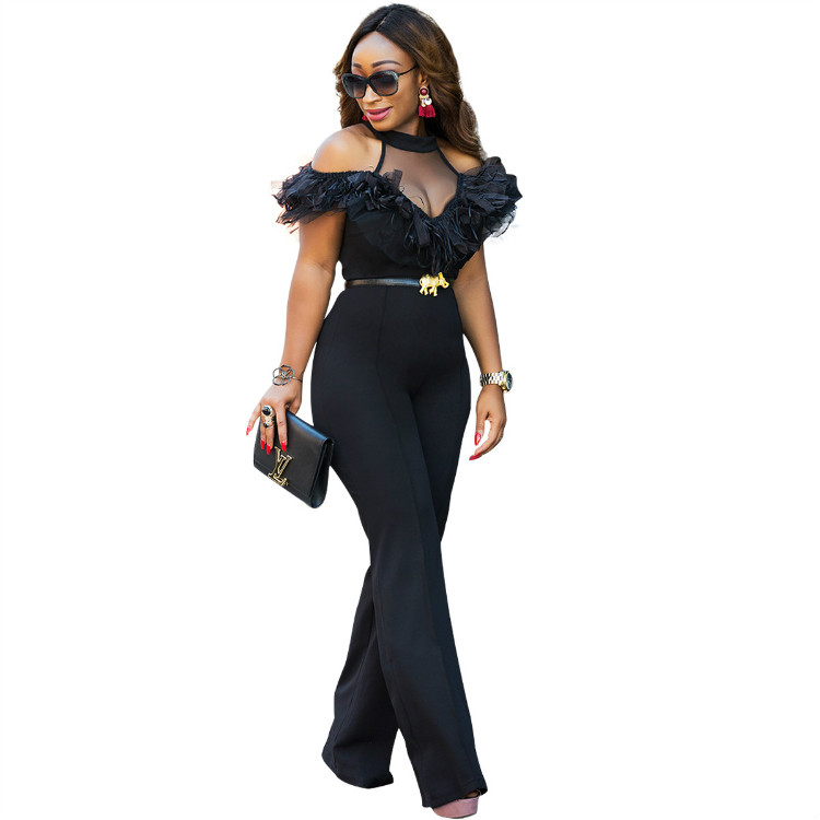 Wholesale Halter Neck Mesh Women Fashion Jumpsuit Cold Shoulder Black Ladies Jumpsuit with Flutter Ruffle Jumpsuit Sexy фото