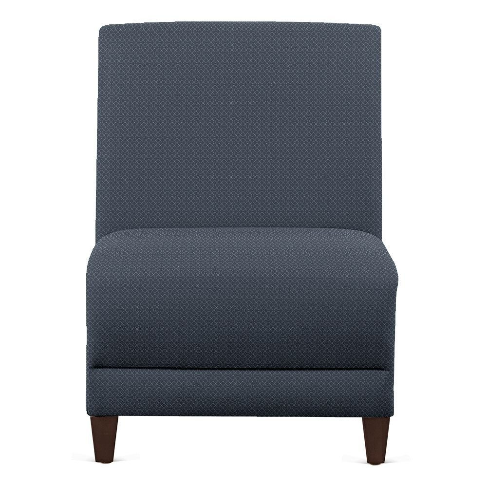 "Faux Leather or Patterned Fabric Armless Guest Chair - 31""W Denim Fabric/Walnut Finish Dimensions: 21""W x 29.5""D x 32.5""H Seat Dimensions: 21""Wx19""Dx18""H Back Dimensions: 21""Wx18""H Weight: 42 lbs"