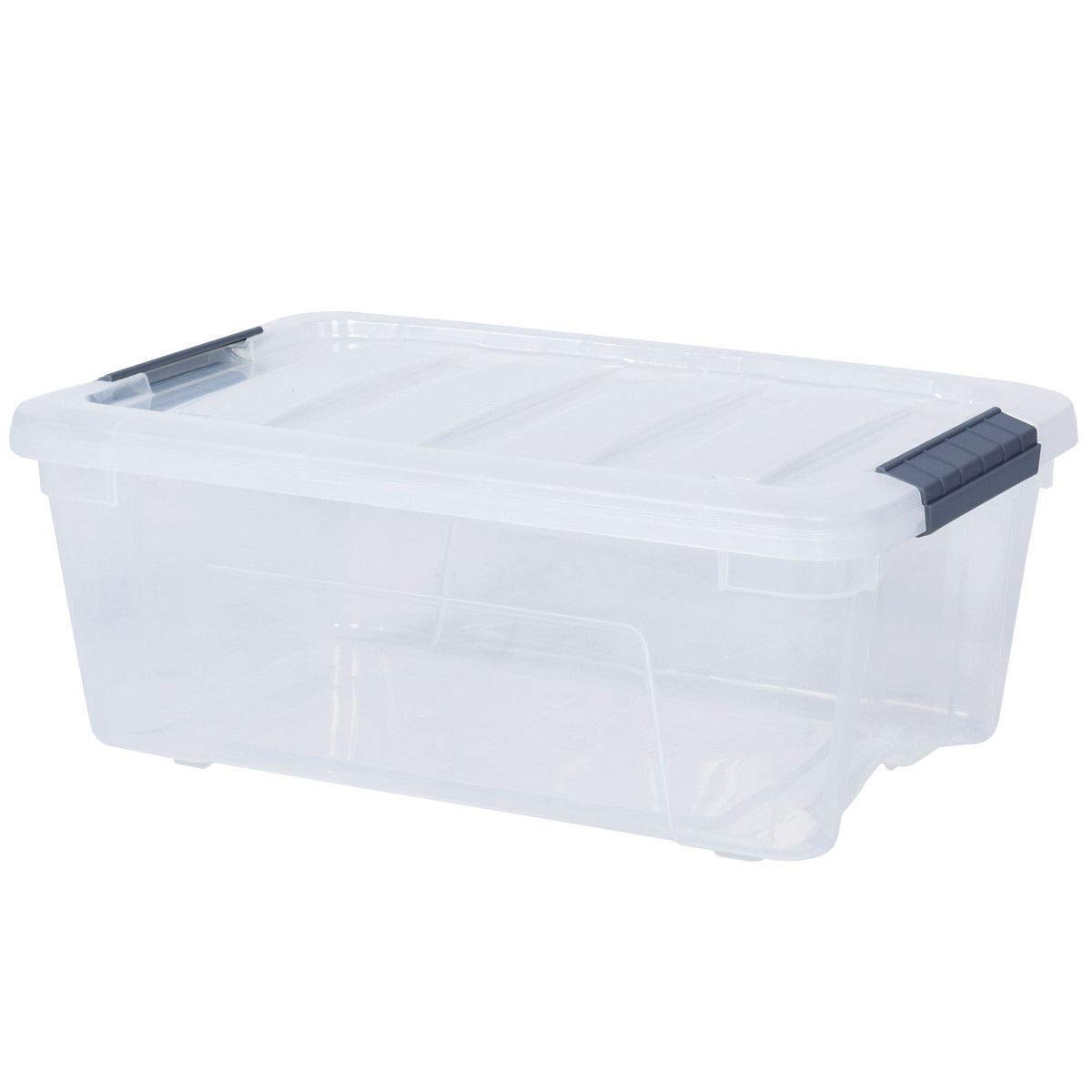 GHP 12-Pcs 13-Quart Capacity Transparent Plastic Bin Stackable Storage Box Totes