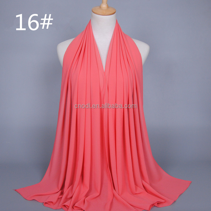 Women heavy bubble chiffon hijab solid color instant chiffon shawl islamic muslim hijab scarf