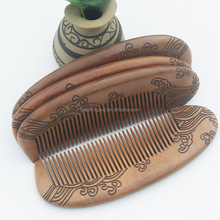 wholesale wood comb sandal wooden comb made natural peach Fancy promotional popular custom personalized green sandalwood combs