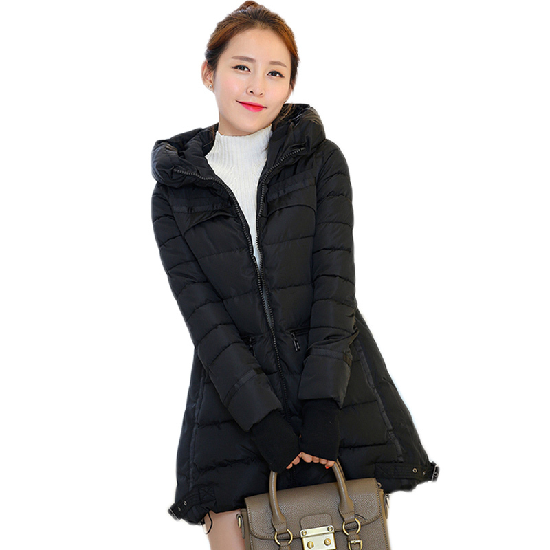 Womens Winter Jackets and Coats plus size New 2015 Winter Coat Women Parkas Black Hooded Collar thick Coat Woman Outwear