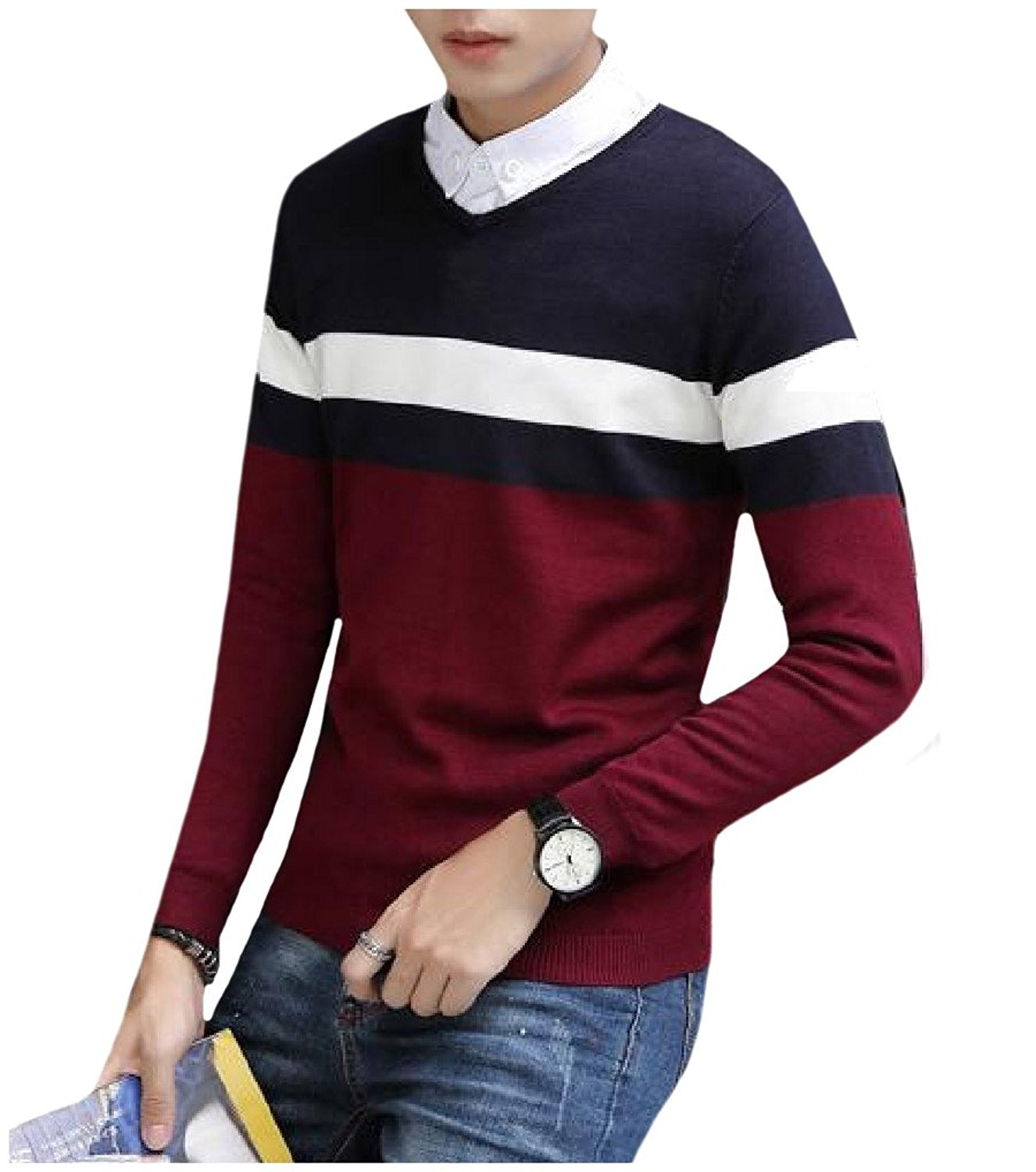 XiaoTianXin-men clothes XTX Men Cozy Fashionable Striped Contrast Color Sweaters Pullover