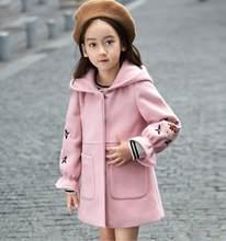 Осенне-зимнее шерстяное пальто для девочек, розовая, красная, с рукавами-фонариками, длинная куртка для детей 4, 6, 8, 10, 11, 12 лет(Китай)