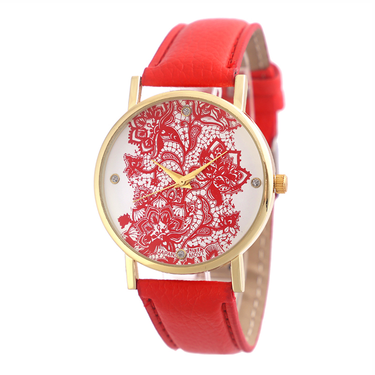 Red PU strap watch free shipping fast <strong>delivery</strong> watches cheap price watch for ladies