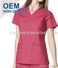 Navy Scrub Tops 60%Cotton 40%Polyester bleach resistant scrubs nurses uniform design pictures
