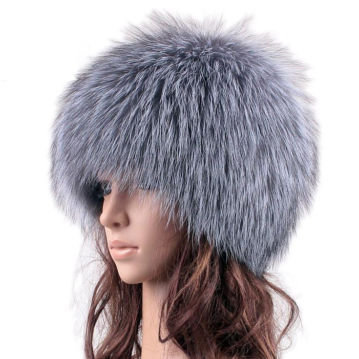 autumn and winter genuine Silver Fox Fur Hat 100% Real Fur fox knitted ear cap famele luxury white color caps natural headwear
