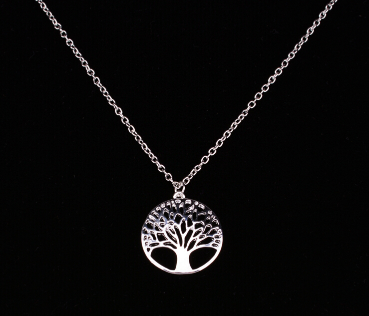 sashion silver plated Tree Of Life pendant necklace totem religion 18inch collares populares wedding Valentines Day jewelry