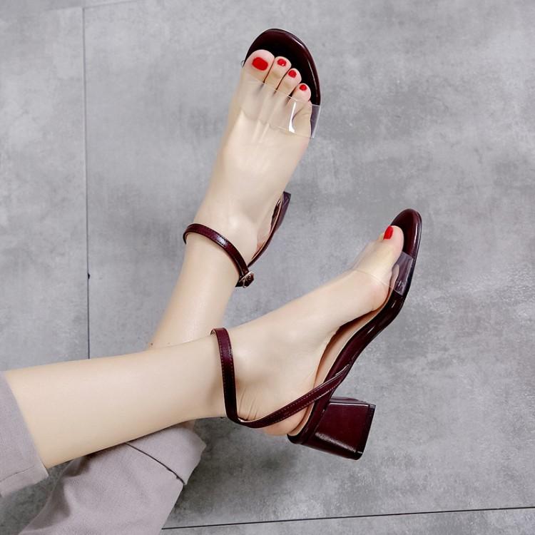 Большие размеры 11, 12, 13; босоножки на высоком каблуке; женская обувь; женские летние прозрачные сандалии с пряжкой на толстом каблуке(Китай)