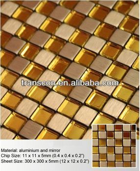Golden Liner Pattern Hand Painting Glass Mix Stone Mosaic