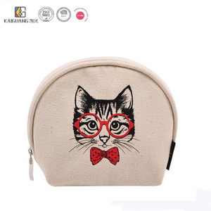 High Quality Wholesale Canvas Makeup Bag Portable Travel Girls Cosmetic Pouch