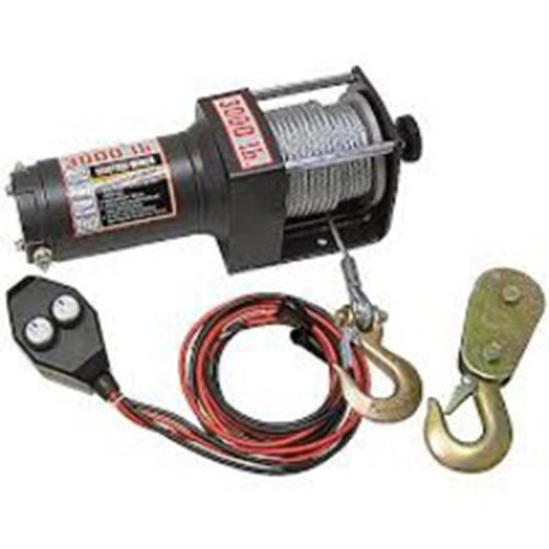 wood power winch 2000lb winch heavy duty atv - power in/out controls -  clevis
