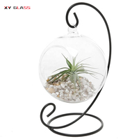 hot sale mouth blown glass with round bottom terrarium fish bowl flower vase