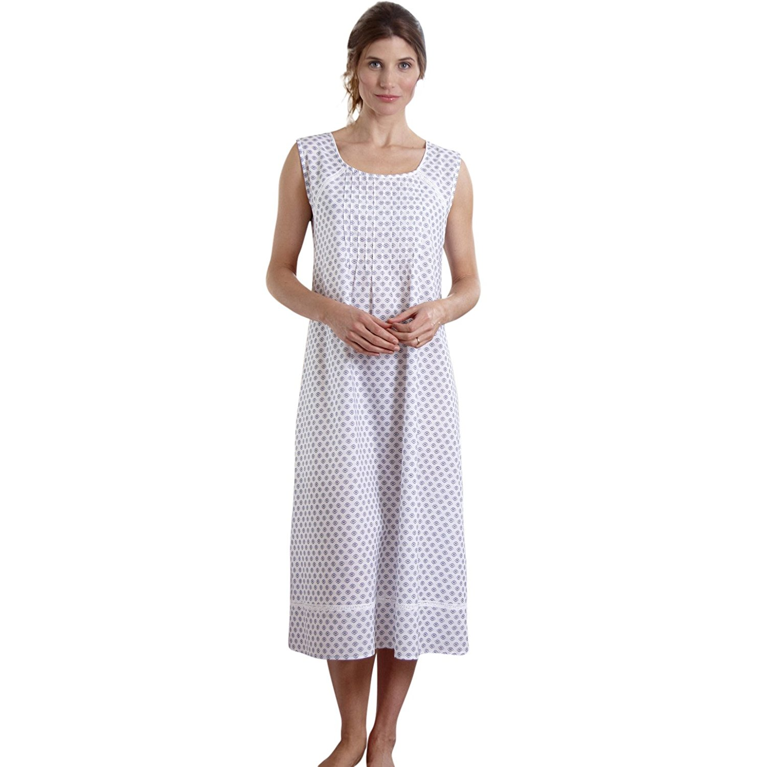 03c7d43f04 Get Quotations · The Irish Linen Store Womens Louisa Sleeveless Cotton  Nightgown White Pattern