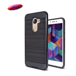 [Sitemail] For Coolpad Revvl Plus Case, Slim Flexible Brushed Metal Textured PC TPU Double Phone Case for Coolpad Revvl plus
