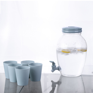 Plastic Beverage Dispenser with Spigot and 6 Cups Spout Jar for Juice Water Cold Drinks Portable 1.3 Gallon Container