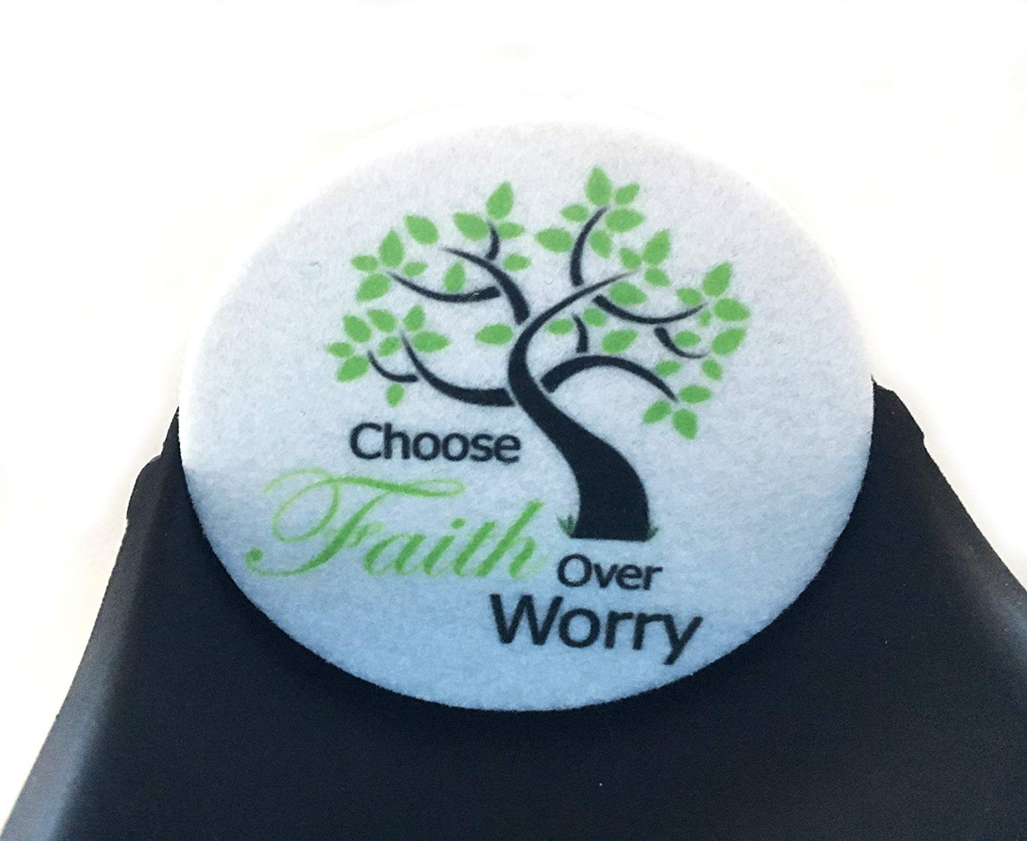 Choose Faith Over Worry Car coasters for your car's cup holder - Set of two super absorbent Car Coasters - Auto Coasters