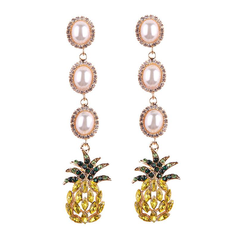 Fashion Contracted Acrylic Alloy Diamond Pearl Pendant Earrings Latest Jewelry Earrings, N/a
