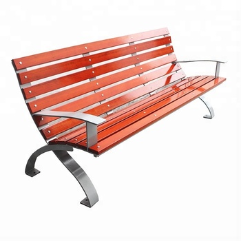 Patio Wood And Metal Park Bench Chair Stainless Steel Frame Outdoor