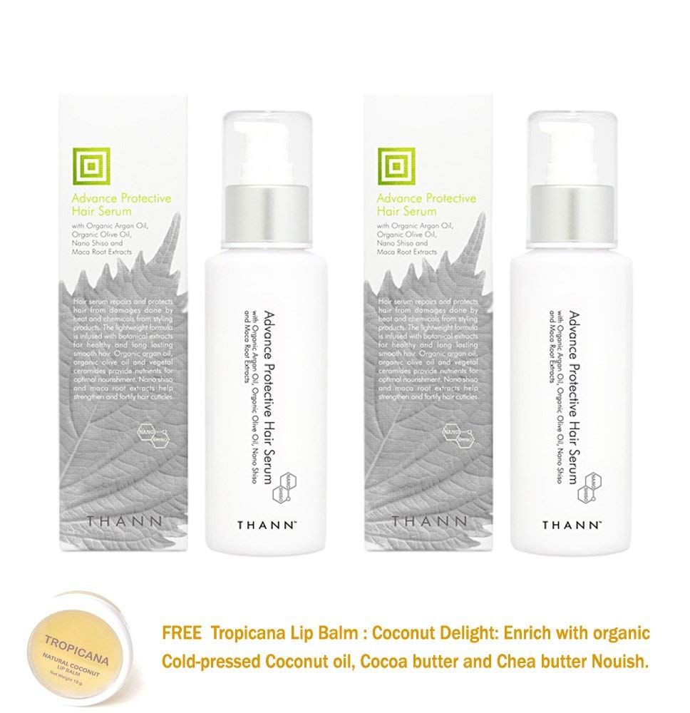 2 UNITS OF THANN ADVANCE PROTECTIVE HAIR SERUM WITH ORGANIC ARGAN OIL, ORGANIC OLIVE OIL, NANO SHISO AND MACA ROOT EXTRACTS 100 ML[GET FREE TOMATO FACIAL MASK]