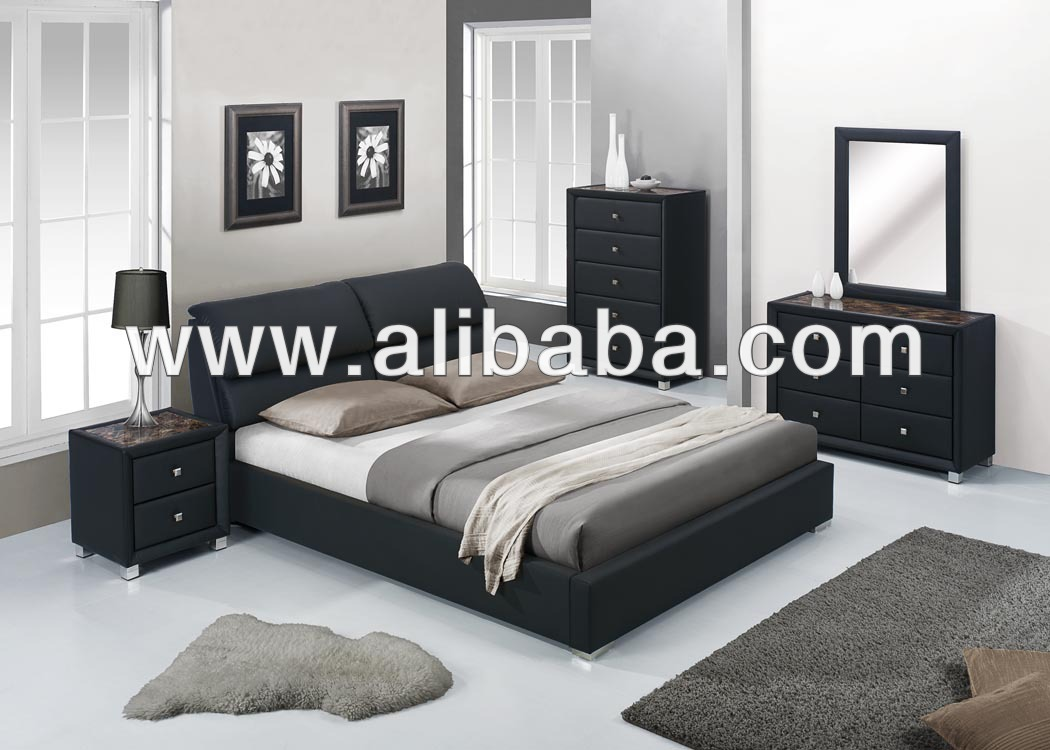 Furniture bedroom sets faux leather pu bedroom suite bedsdresser mirror chest night stand lebretto bedroom set