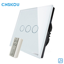 CNSKOU EU standard home automation 3 gang 1 way wireless low voltage remote control touch switch