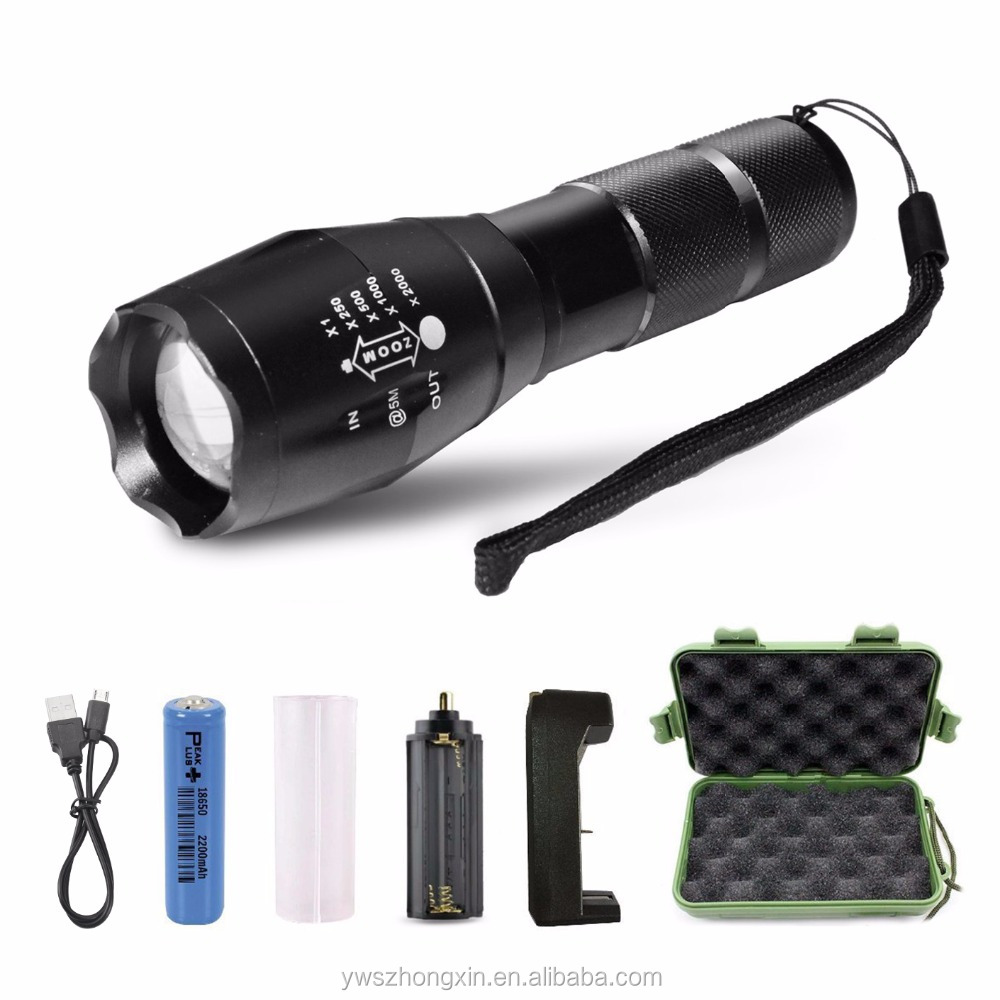 XML-T6 Rechargeable Battery 18650 LED Handle Waterproof Military Tactical Police Mini Flashlight Torch