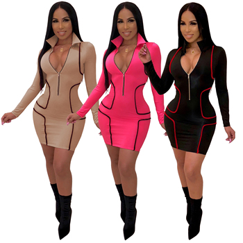 Wholesale 2018 Women sexy zipper deep V Neck bodycon long sleeve mini party club dresses