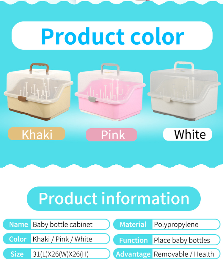Multipurpose Storage Handle Baby Bottle Cabinet Plastic Box