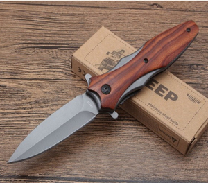Outdoor Combat Wood Handle Funny Tactical Folding Knife