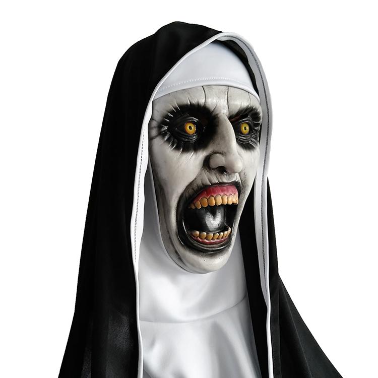 The Nun Horror Movie Cosplay Latex Halloween Mask Scary Valak With Headscarf