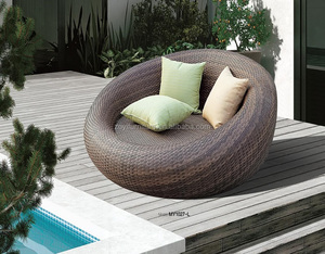 ZOYI outdoor PE wicker rattan round daybed garden furniture swimming pool used