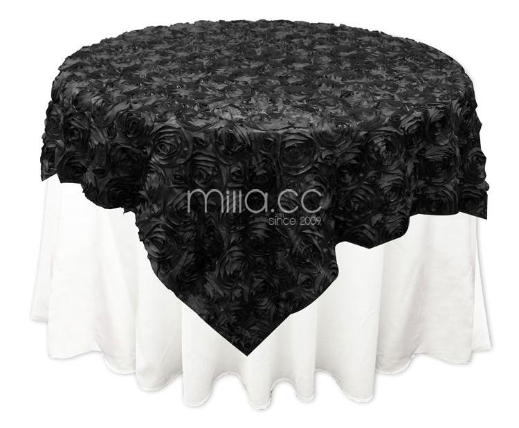 Rosette Satin Tablecloth Rose Wedding Cake Table Overlay