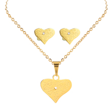 Engrave Graffiti Heart Pendant Necklace Stylish Fake Gold African Jewellery Moti Paypal Stud Earrings Jewelry Set