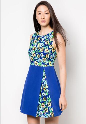 fad39fbba azul doblada plisado estampado floral vestido de moda para las mujeres  gordas