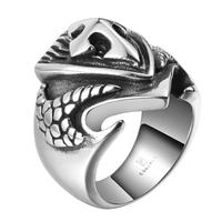 Tryme Brand Punk Dragon Claw Cross Men Finger Biker Rings Never Fade Silver Plated 316L Stainless Steel Jewelry Ring for Man
