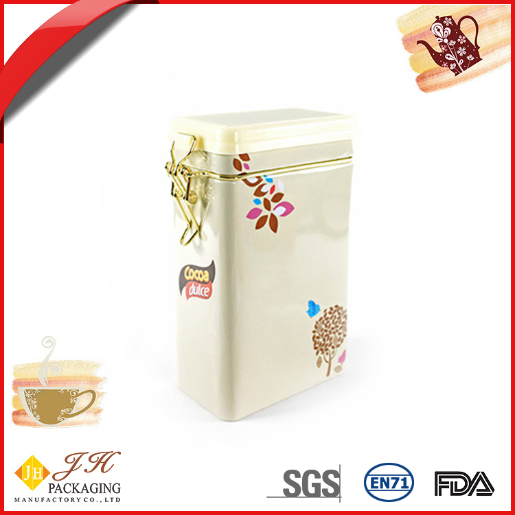 JH Chic rectangular cocoa coffee metal tin packing box