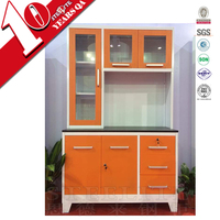 New style orange color stainless steel kitchen cabinet in stock