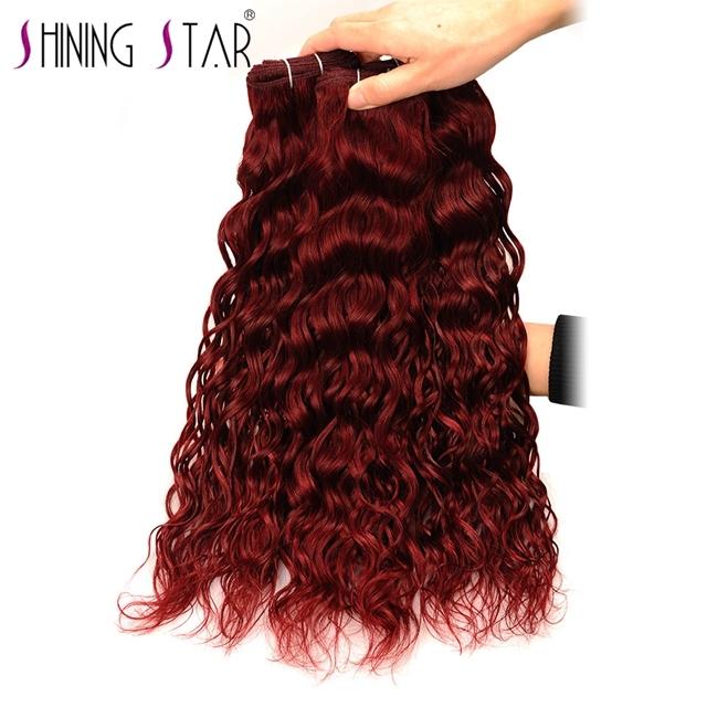 Shiningstar Water Wave Red Peruvian Human Hair Weaving