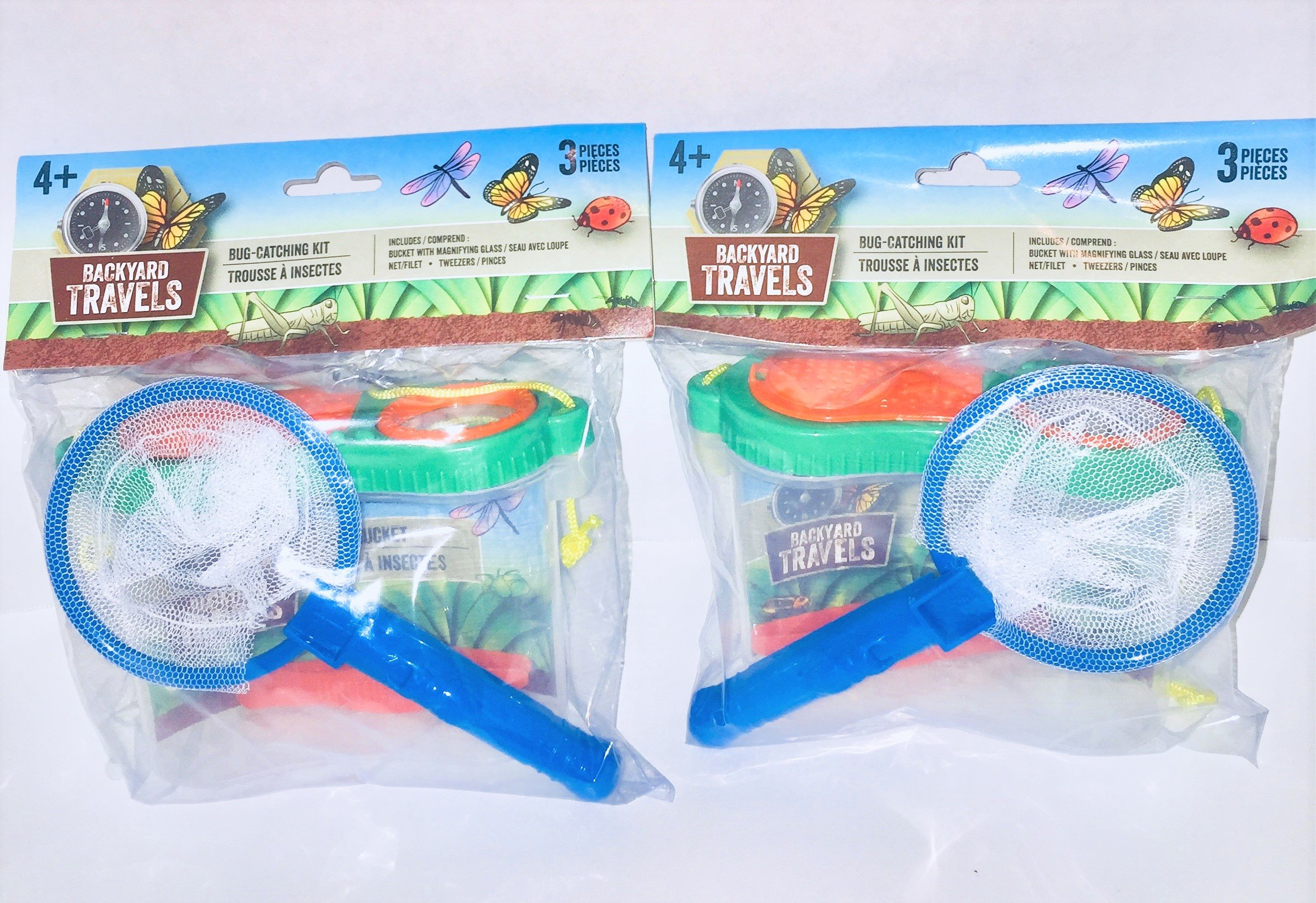 Set of 2 Backyard Travels Bug Catching Kits - Each has Tweezers, Bug Catching Net, Bug Bucket with Magnifying Glass - colors may vary