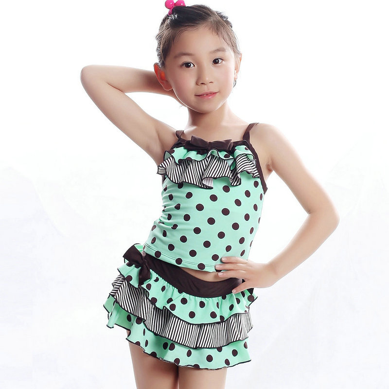b13e9d7bfe5a7 Get Quotations · Wholesale Kid Girls Bathing Suits 2015 Brand New Fashion  Dots Falbala Skirted Mermaid Swimsuit For Kids
