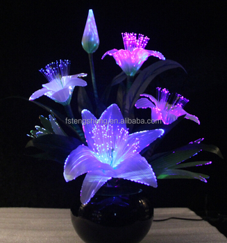Artificial Lily Led Fiber Optic Flower Lamp/silk Flower Artificial  Decoration For Indoor Used